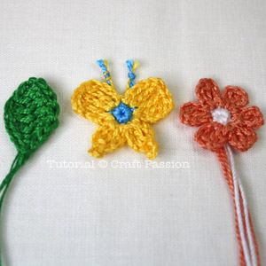 crochet Butterfly Flower Leaf pattern