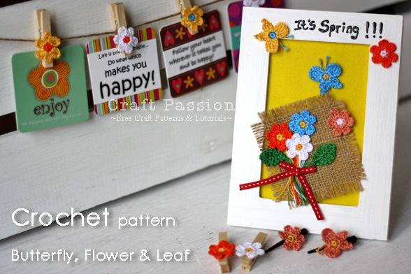 leaf butterfly flower crochet pattern