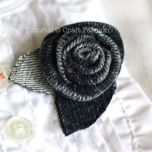 make denim rosette brooch