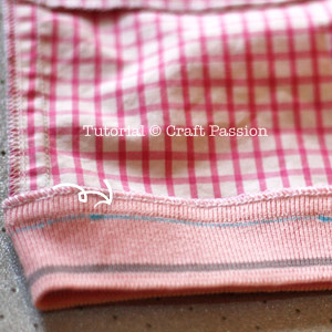 sew rib knitted hem to shorts