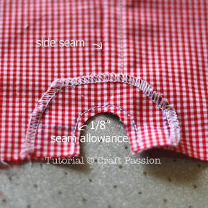 sew shorts curve notch