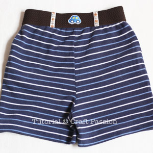 sewing toddler knit shorts with direct elastic band