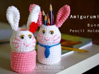 bunny pencil holder crochet pattern