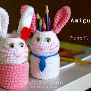 bunny pencil holder crochet pattern