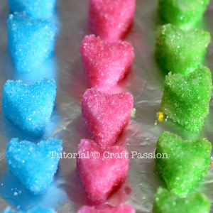 colorful sweet heart sugar cube
