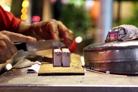 Cut ice cream block