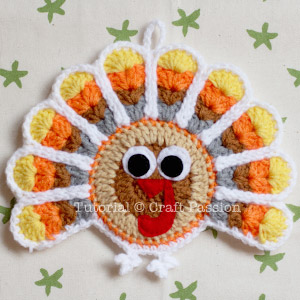 crochet turkey coaster and ornament