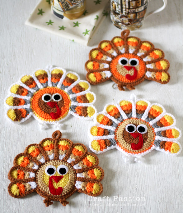 crochet turkey coaster 2