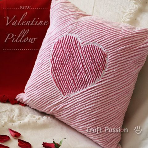 Heart Chenille Valentine Pillow Sewing Pattern