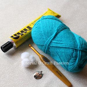 crochet flower brooch tool material
