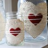 Doilies & Hearts Tied on Jars with Strings Tutorial DIY