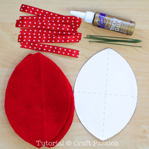 materials to make felt heart shaped fortune cookies