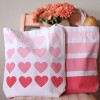 DIY Ombre Heart & Striped Canvas Totes