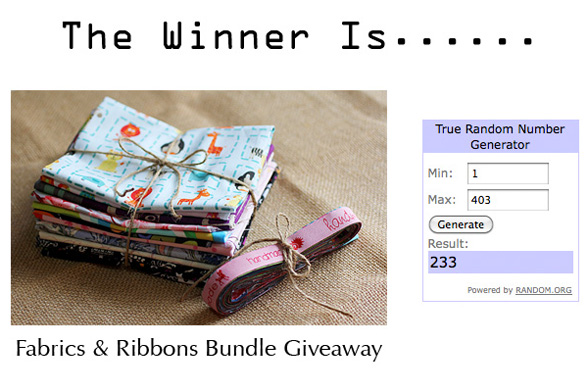 Fabrics & Ribbons Bundle Giveaway Winner