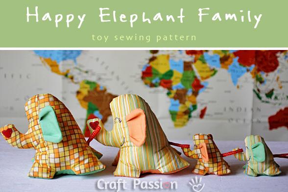 Elephant Stuffed Toy, Happy Family