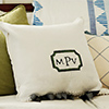 monogram tea towel pillow