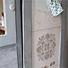 stenciled cork inspiration board