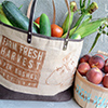 stenciled farmers market bag basket