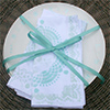 stenciled plates and napkins