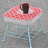 stenciled quatrefoil footstool