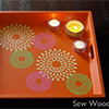 stenciled tray tea light votives