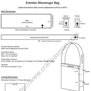 entrelac messenger bag pattern