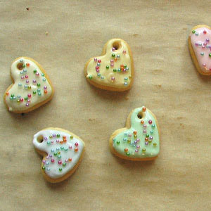 polymer clay heart-cookie charm