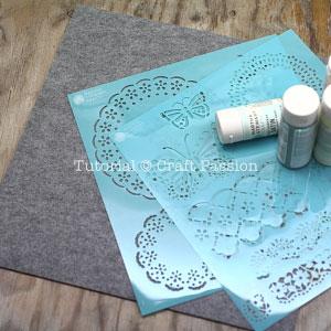 stenciled felt coasters materials