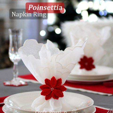 Poinsettia Napkin Ring Crochet Pattern