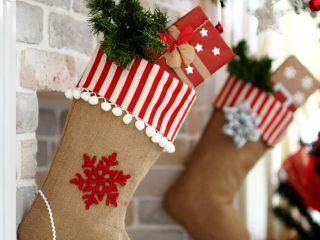 farmhouse burlap christmas stocking
