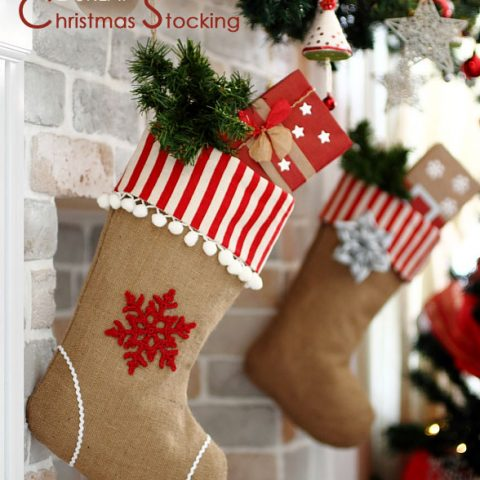 farmhouse burlap christmas stocking