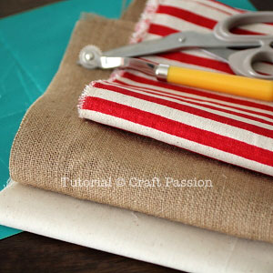 sew burlap stocking materials