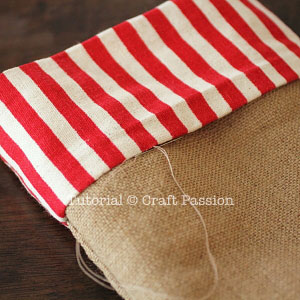 sew burlap stocking 11