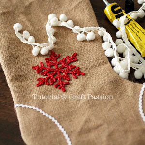 decorate burlap stocking
