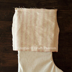 sew burlap stocking 9