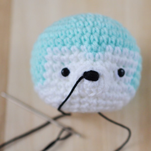 nose of amigurumi puppy