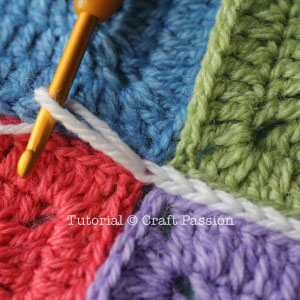 how to join granny square with Flat Slip Stitch