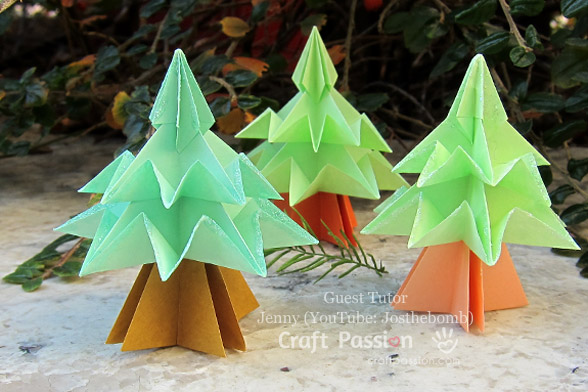 HOW TO MAKE EASY ORIGAMI CHRISTMAS TREES. — Gathering Beauty | 392x588