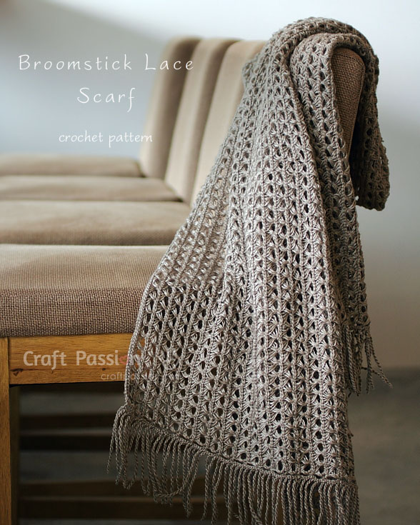 Broomstick Lace Scarf Free Crochet Pattern Craft Passion Page