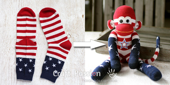 american themed sock monkey