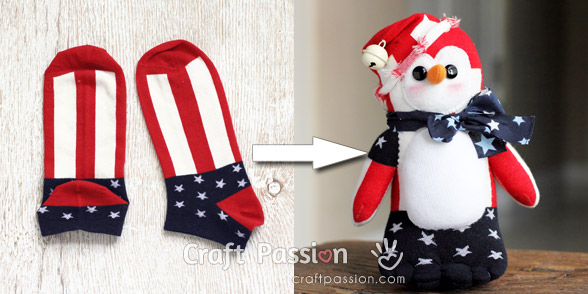 usa flag sock penguin