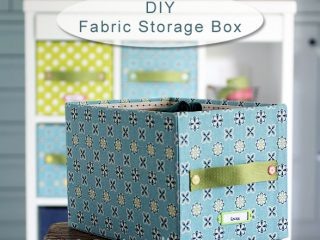 DIY easy and pretty storage box with plain carton and fabrics