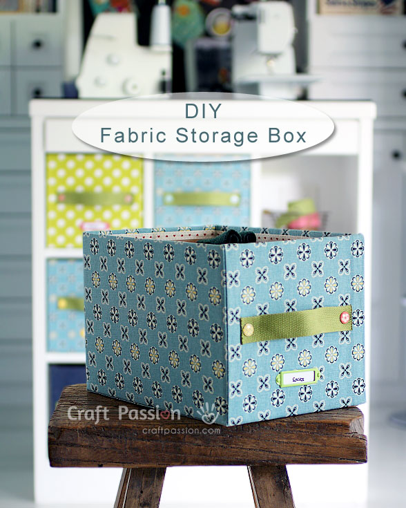DIY easy and pretty storage box with plain carton and fabrics