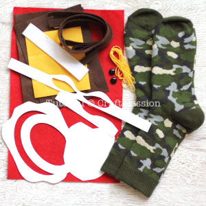 materials to sew sock ninja turtle toy