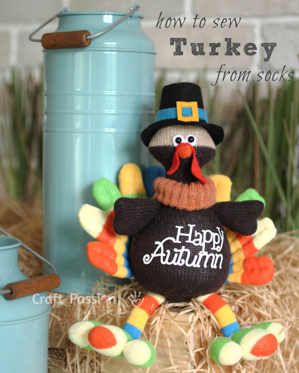 how to sew sock turkey doll