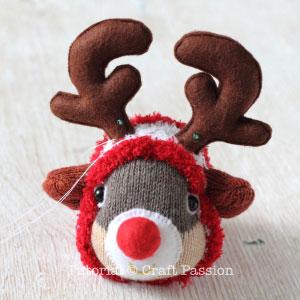 sew sock reindeer