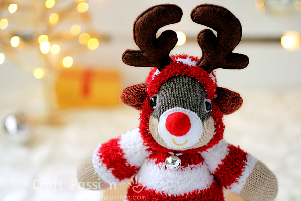christmas sock reindeer plushies