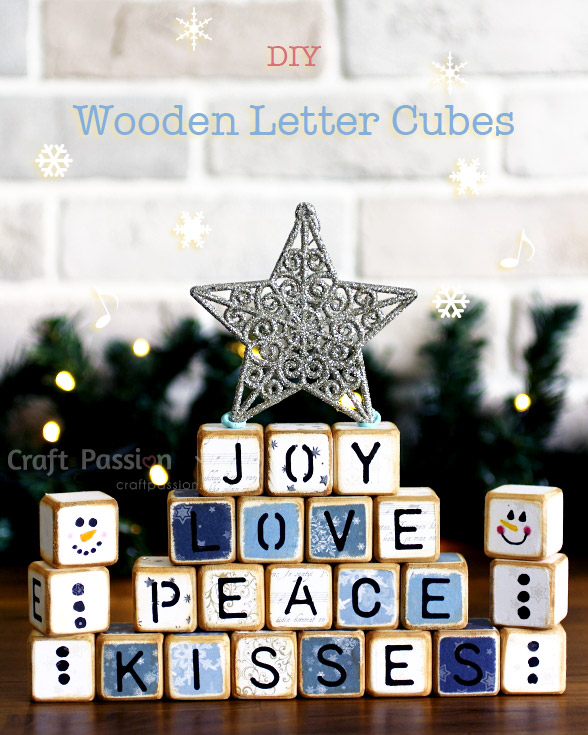 diy wooden letter cubes easy to make craft passion