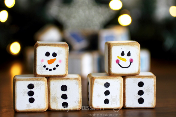 melted snowman wooden cubes