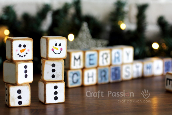 merry christmas letter cubes